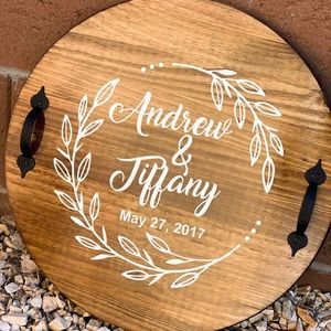 Round Wood Tray Personalized